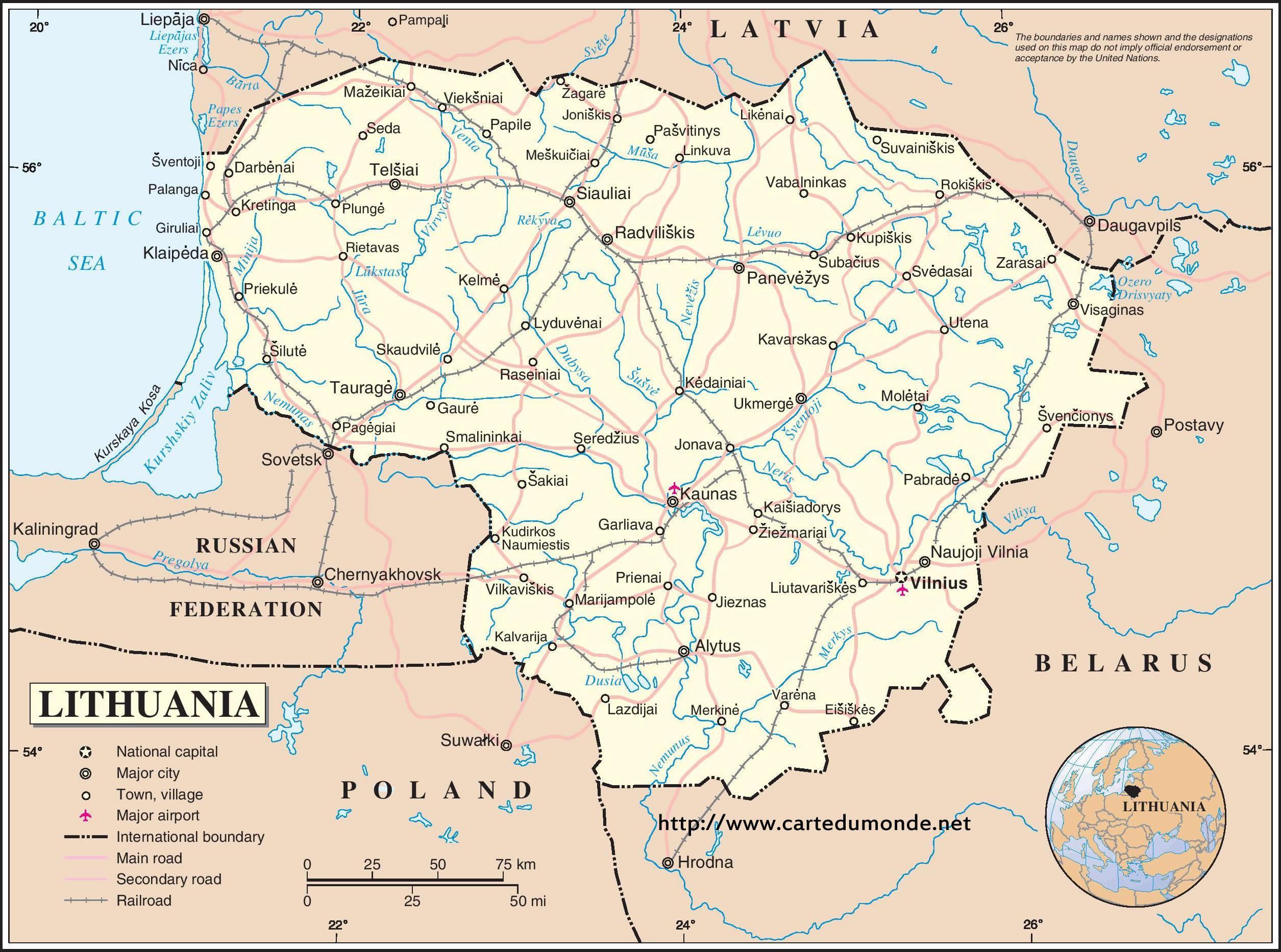 Lituania țară Hartă Harta De Lituania țară Europa De Nord