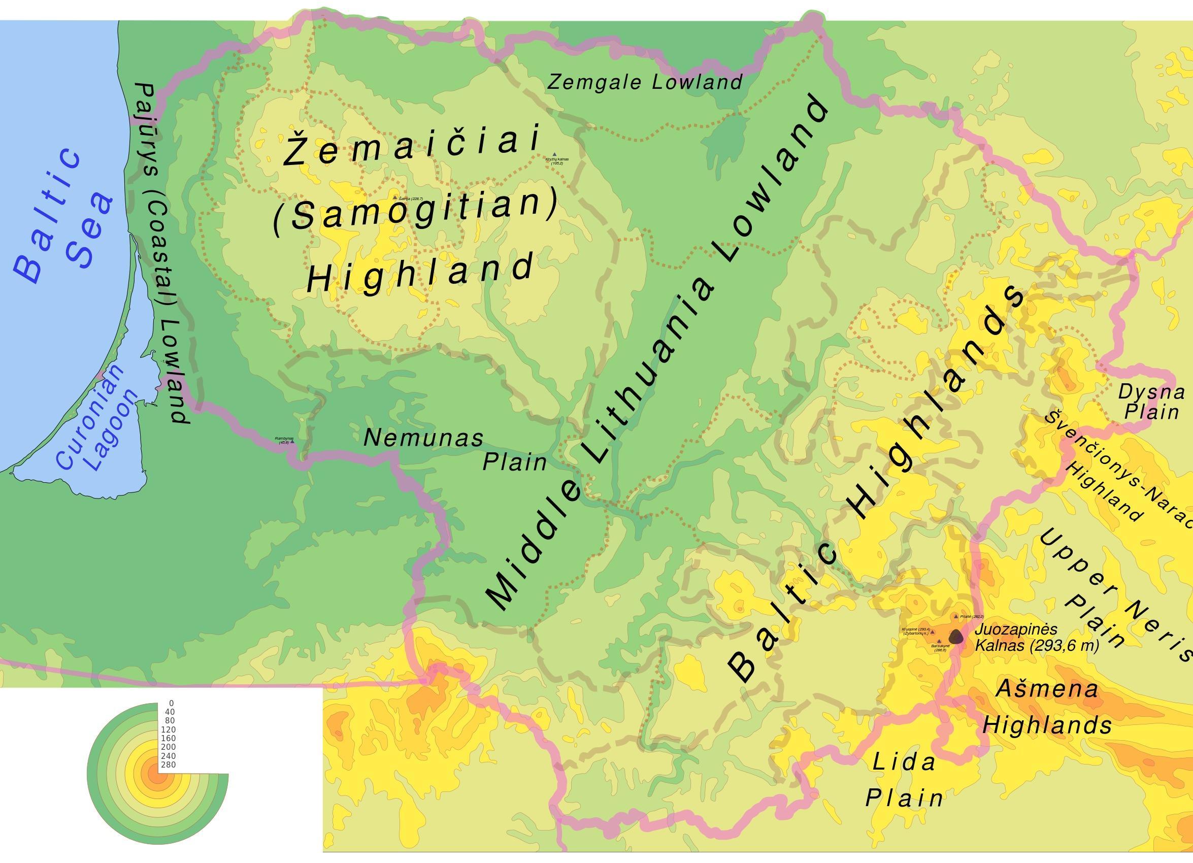 Lituania Fizice Hartă Harta Lituania Fizice Europa De Nord