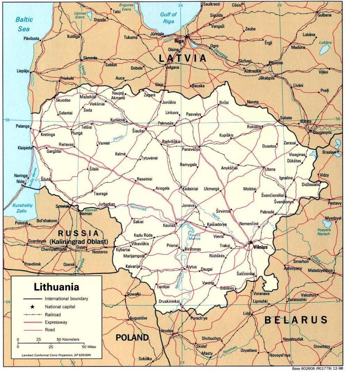 Lituania Harta Hartă Care Arată Lituania Europa De Nord Europa
